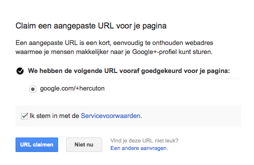 google plus URL claimen